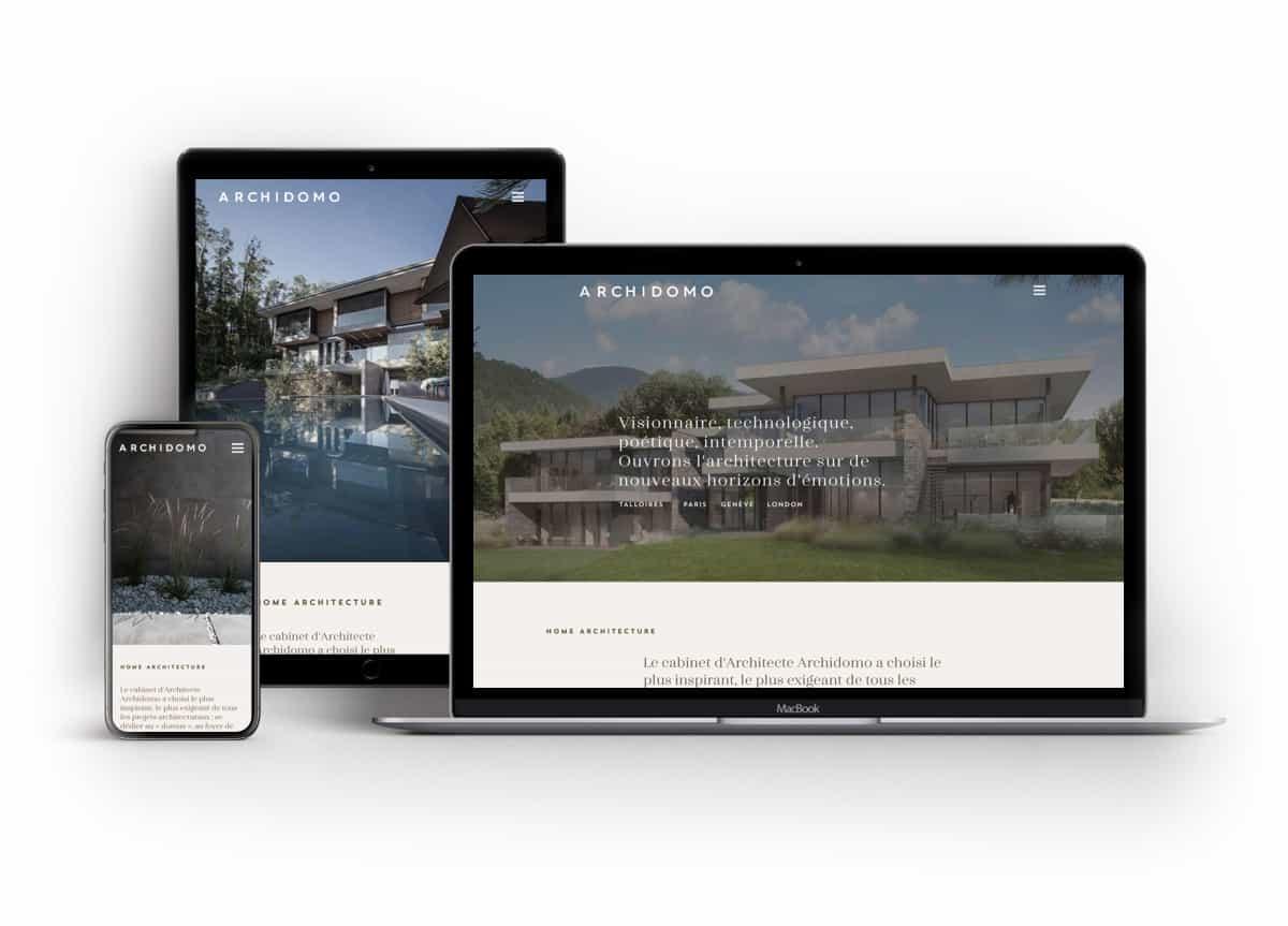 Site internet architecte Archidomo, webdesign et développement, Blue1310 Annecy