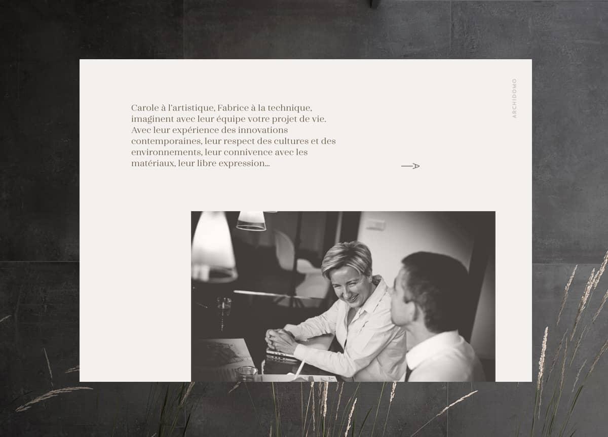 Site Archidomo, présentation home page, création web Blue1310