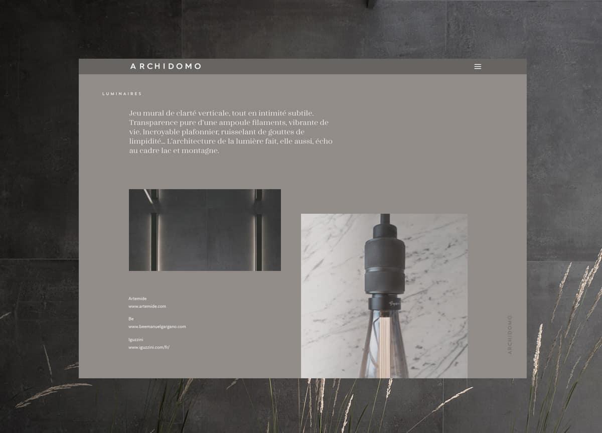 Home page site Archidomo, création de site