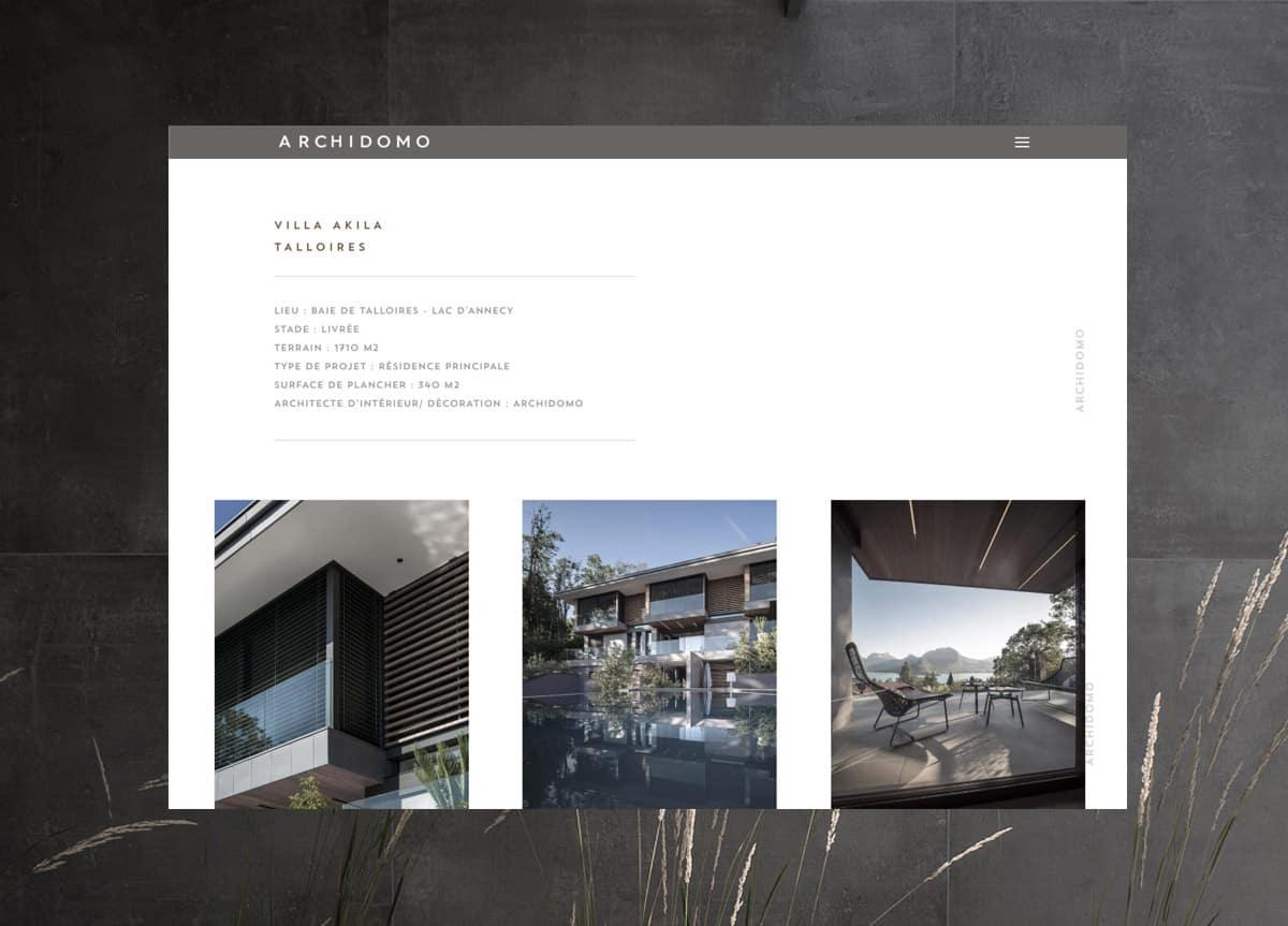Création site Architectes Archidomo, création Blue1310 Annecy