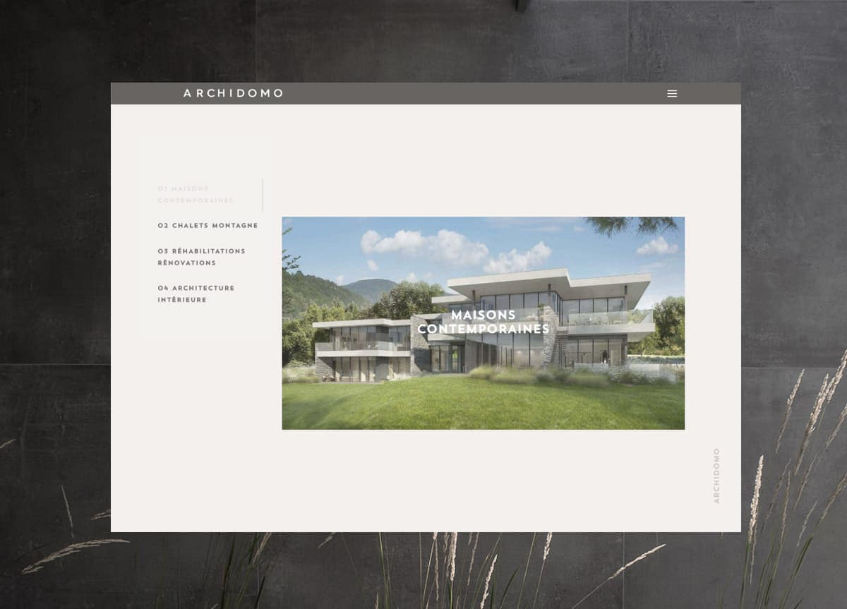 Site Archidomo Architectes, création page galerie, Blue1310 Annecy